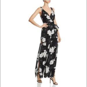 Aqua Sz Small Black/White Floral Jumpsuit
